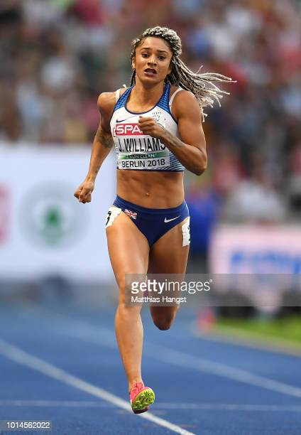 Jodie Williams of Great Britain competes in the Women's 200m Semi Finals during day four of the 24th European Athletics Championships at...