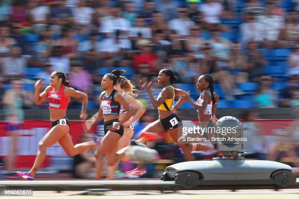 Jodie Williams of Great Britain in action during the women's 200m final during Day Two of the Muller British Athletics Championships at the Alexander...