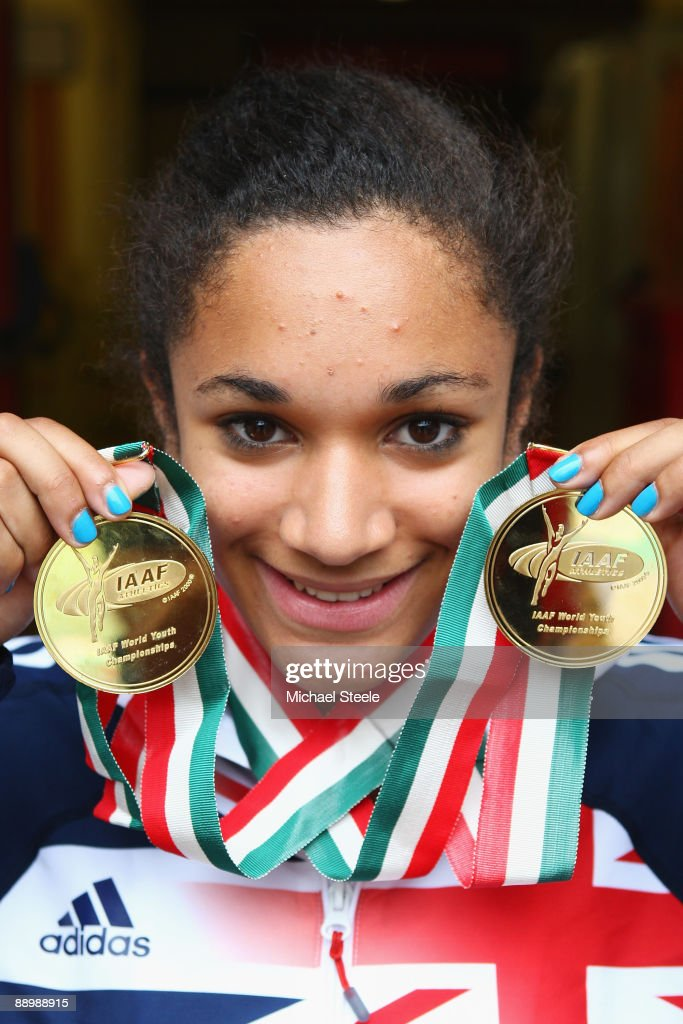 Jodie Williams of Great Britain poses with her two sprint gold medals from the 100m and 200m on day five of the Iaaf World Youth Championships at the Bressanone Sports Complex on July 12, 2009 in Brixone Bressanone, Italy.