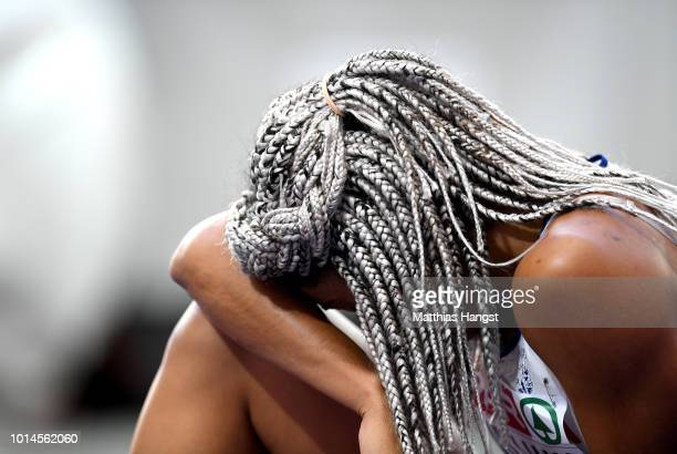Jodie Williams of Great Britain reacts after she competes in the Women's 200m Semi Finals during day four of the 24th European Athletics...