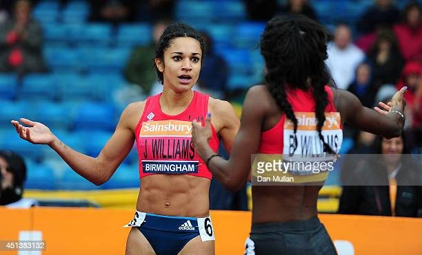 Jodie Williams reacts after winning the Women's 200m Final during day two of the Sainsbury's British Championships at Birmingham Alexander Stadium on...