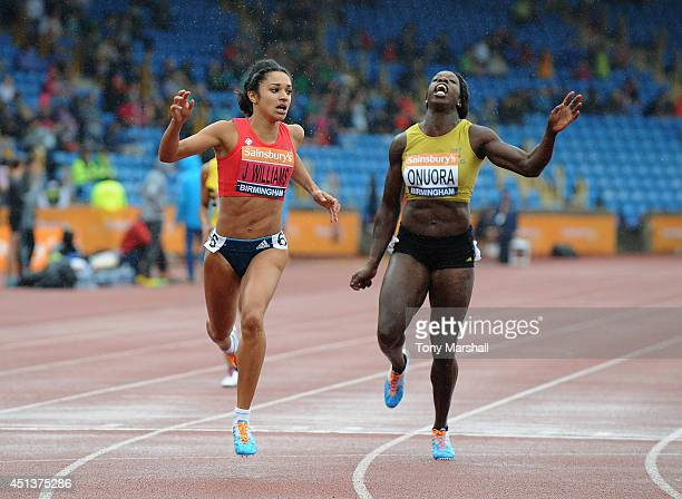 Jodie Williams wins the Women's 200m final during the Sainsbury's British Championships Birmingham Day Two at Birmingham Alexander Stadium on June 28...