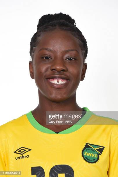 Jody Brown of Jamaica poses for a portrait during the official FIFA Women's World Cup 2019 portrait session at Hotel Novotel Grenoble Centre on June...