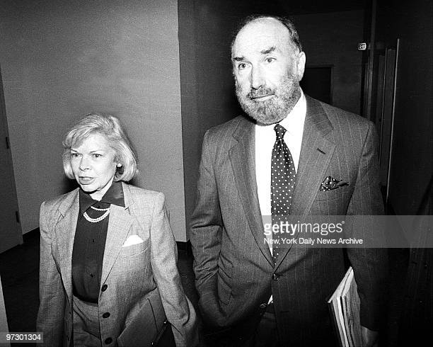 Jody Carson aka Joan Wolcott first wife of TV star Johnny Carson arriving at Manhattan Supreme Court in bid for alimony increase with attorney Raoul...