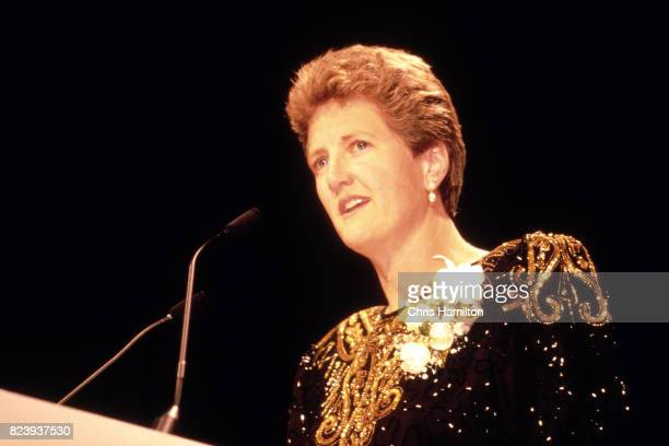Jody Conradt makes a speech during her induction into the Naismith Memorial Basketball Hall of Fame Class of 1998 on May 10 1998 in Springfield...