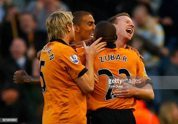 Jody Craddock of Wolverhampton Wanderers celebrates scoring his sides second goal during the Barclays Premier League match between Stoke City and...