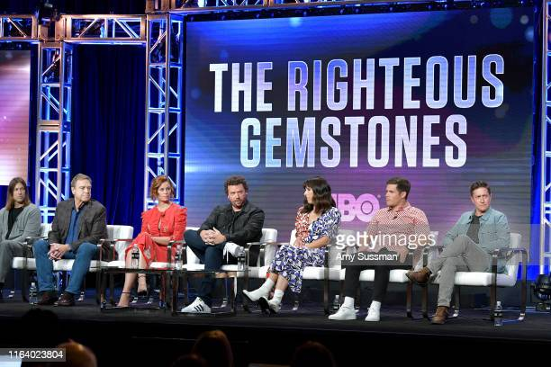 Jody Hill John Goodman Cassidy Freeman Danny McBride Edi Patterson Adam DeVine and David Gordon Green of 'The Righteous Gemstones' speak during the...
