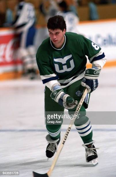 Jody Hull of the Hartford Whalers skates against the Toronto Maple Leafs during NHL game action on February 15 1989 at Maple Leaf Gardens in Toronto...