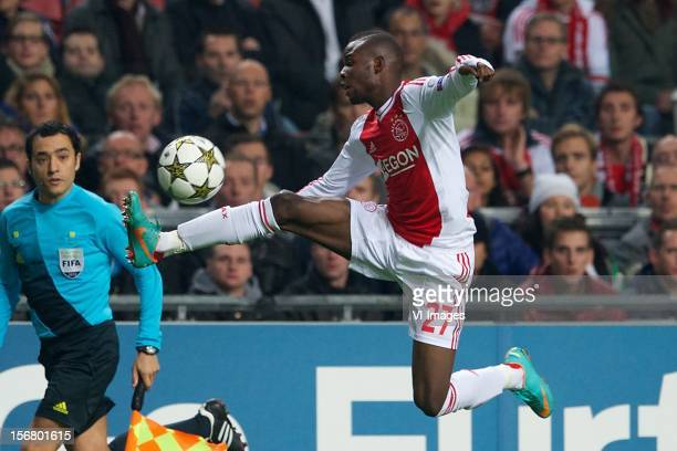 Jody Lukoki of Ajax during the Champions League match between Ajax Amsterdam and Borussia Dortmund at the Amsterdam Arena on November 21 2012 in...