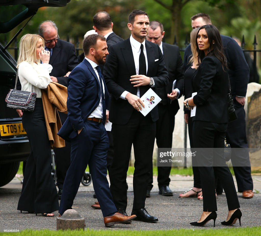 Jody Morris, Frank Lampard and wife Christine Lampard leave St Luke's & Christ Church after the memorial held for Ray Wilkins on May 1, 2018 in London, England.
