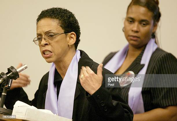 Jody Norman a family member of Green River Killer victim Shawnda Summers speaks at the sentencing of Gary Ridgway in King County Washington Superior...