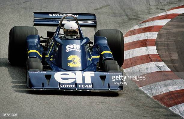 Jody Scheckter drives the Elf Team Tyrrell Ford P34 six wheeler during the Grand Prix of Monaco on 30 May 1976 on the streets of the Principality of...