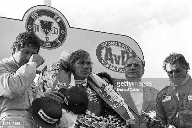 Jody Scheckter, James Hunt, Jochen Mass, Grand Prix of Germany, Nurburgring, 01 August 1976. Somber mood on the podium for James Hunt, Jody Scheckter...