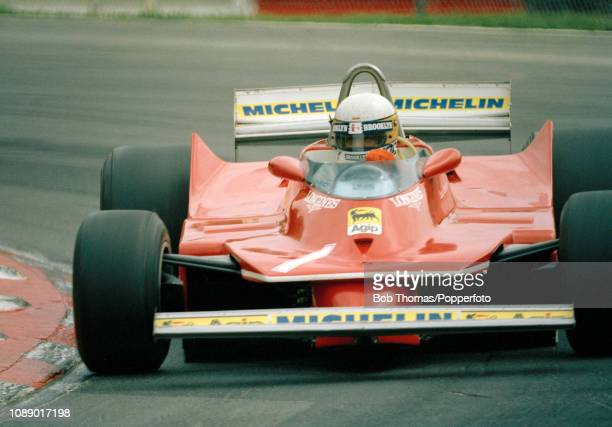 Jody Scheckter of South Africa driving the Ferrari 312T4 during the British Grand Prix at the Brands Hatch circuit in Fawkham England on July 13 1980