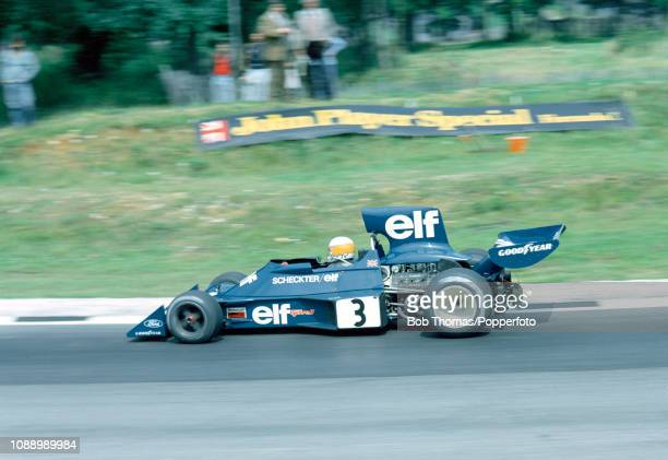 Jody Scheckter of South Africa driving the Tyrell 007 during the British Grand Prix at the Brands Hatch circuit in Fawkham England on July 20 1974