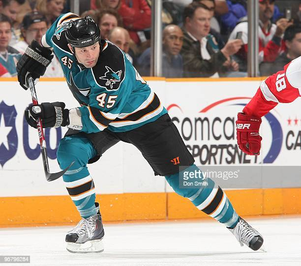 Jody Shelley of the San Jose Sharks skates during an NHL game against the Detroit Red Wings on January 9, 2010 at HP Pavilion at San Jose in San...