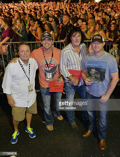 Jody Williams BMI, Songwriters, Jimmy Yeary, David Lee Murphy and Ben Hayslip backstage before Jake Owen performs in front of a crowd of over 10,000...