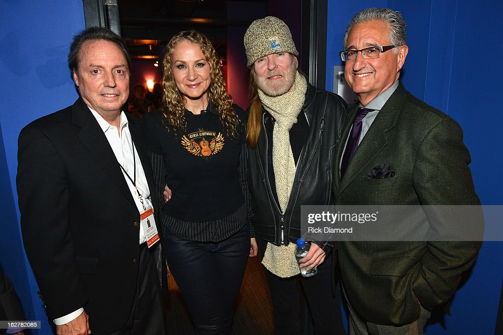 Jody Williams, Joan Osborne, Gregg Allman and Del Bryant attend the All For the Hall New York concert benefiting the Country Music Hall of Fame at Best Buy Theater on February 26, 2013 in New York City.