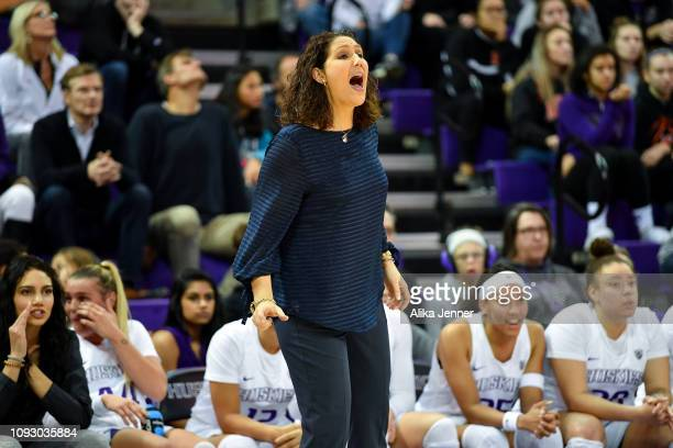 Jody Wynn of the Washington Huskies directs her team at the Alaska Airlines Arena on January 11 2019 in Seattle Washington