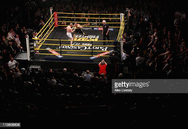 Joe Ainscough fights Wayne Reed during the QuarterFinals of the Prizefighter SuperMiddleweights II fight between Joe Ainscough and Wayne Reed at the...