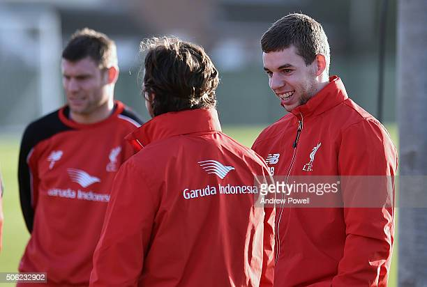 Joe Allen and Jon Flanagan of Liverpool talk during a training session at Melwood Training Ground on January 22 2016 in Liverpool England