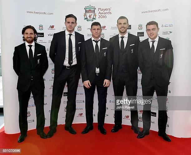 Joe Allen Danny Ward James Milner Jordan Henderson and Connor Randall of Liverpool arrive at the Liverpool FC End of Season Awards at The Exhibition...