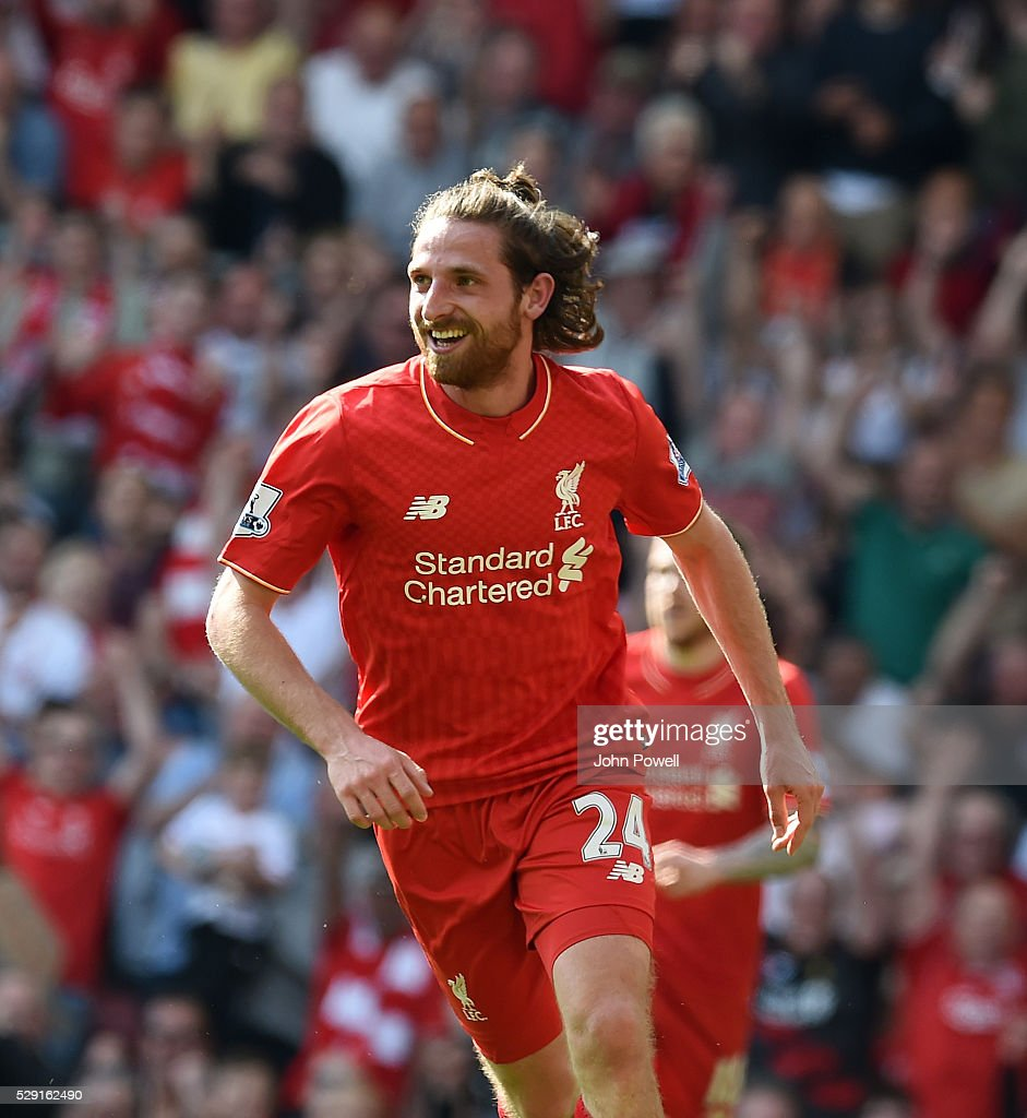 Joe Allen of Liverpool celebrates his goal during the Barclays Premier League match between Liverpool and Watford at Anfield on May 08, 2016 in Liverpool, England.