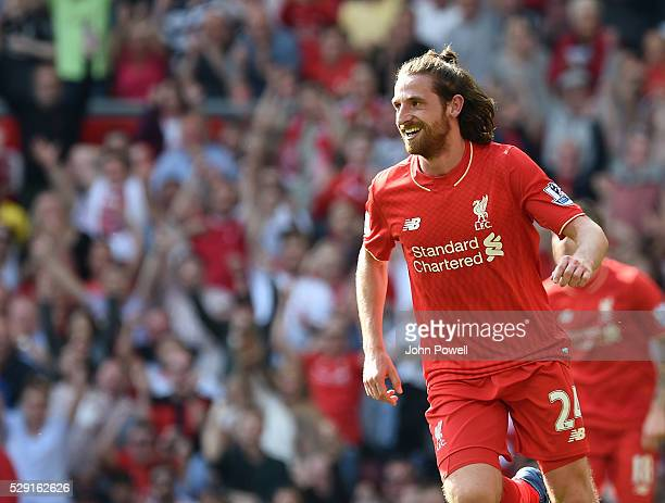 Joe Allen of Liverpool celebrates his goal during the Barclays Premier League match between Liverpool and Watford at Anfield on May 08 2016 in...