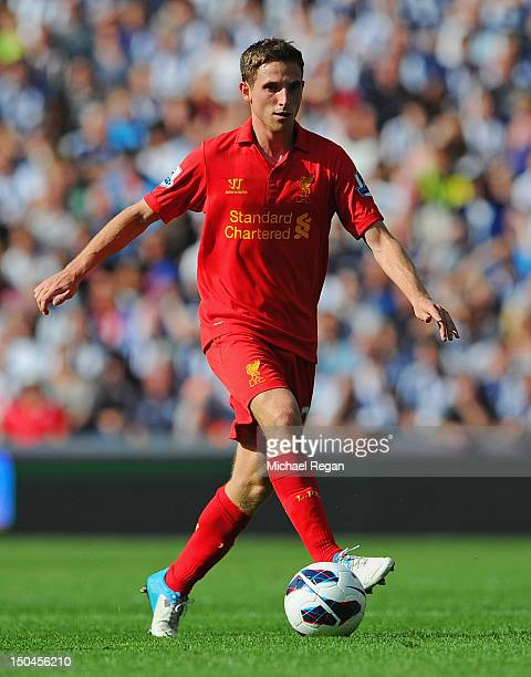 Joe Allen of Liverpool in action during the Barclays Premier League match between West Bromwich Albion and Liverpool at The Hawthorns on August 18...
