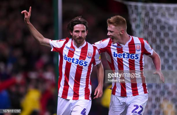 Joe Allen of Stoke City celebrates with Sam Clucas after scoring during the Sky Bet Championship between Stoke City and Ipswich Town at Bet365...