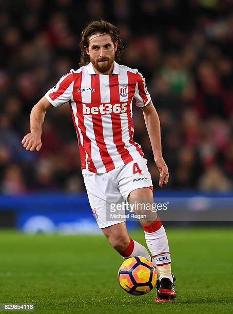 Joe Allen of Stoke City in action during the Premier League match between Stoke City and Southampton at Bet365 Stadium on December 14 2016 in Stoke...