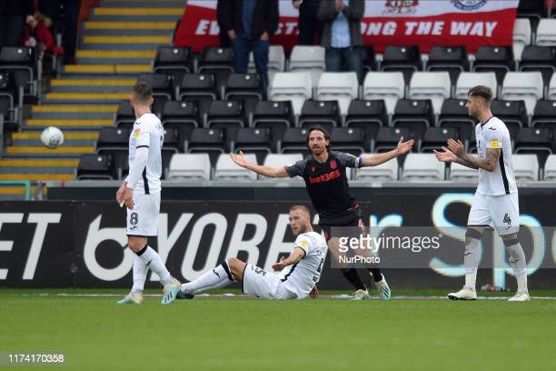 Joe Allen of Stoke City in action during the Sky Bet Championship match between Swansea City and Stoke City at the Liberty Stadium on October 05 2019...