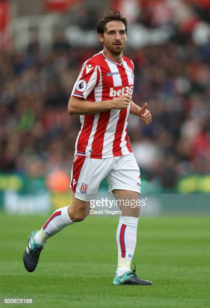 Joe Allen of Stoke City looks on during the Premier League match between Stoke City and Arsenal at Bet365 Stadium on August 19 2017 in Stoke on Trent...