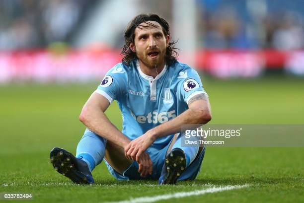 Joe Allen of Stoke City reacts during the Premier League match between West Bromwich Albion and Stoke City at The Hawthorns on February 4 2017 in...