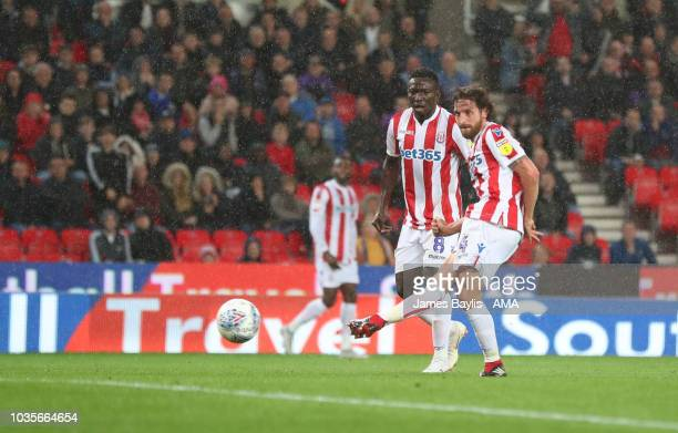 Joe Allen of Stoke City scores a goal to make it 10 during the Sky Bet Championship match between Stoke City and Swansea City at Bet365 Stadium on...