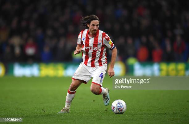 Joe Allen of Stoke in action during the Sky Bet Championship match between Cardiff City and Stoke City at Cardiff City Stadium on November 26 2019 in...