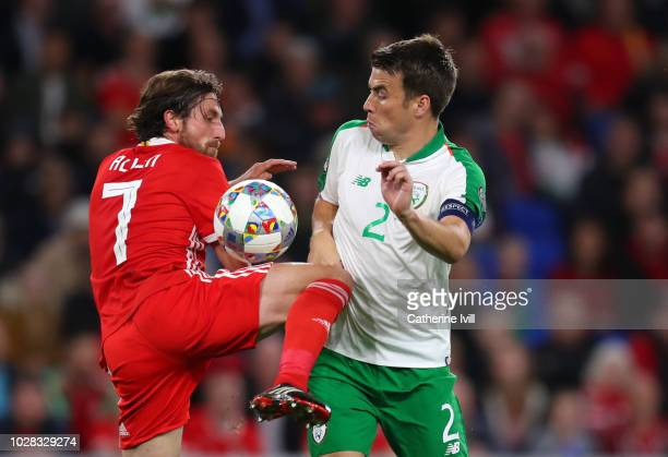 Joe Allen of Wales and Seamus Coleman of Republic of Ireland during the UEFA Nations League B group four match between Wales and Republic of Ireland...