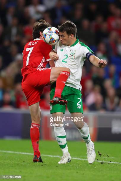 Joe Allen of Wales competes for a header with Seamus Coleman of Republic of Ireland during the UEFA Nations League B group four match between Wales...