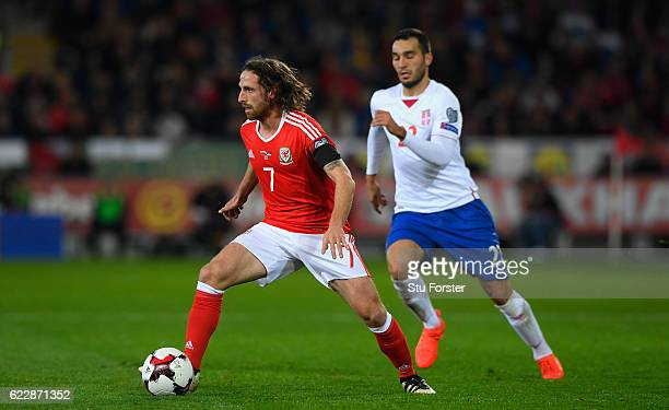 Joe Allen of Wales in action during the FIFA 2018 World Cup Qualifier between Wales and Serbia at Cardiff City Stadium on November 12 2016 in Cardiff...