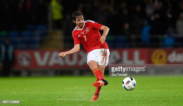 Joe Allen of Wales in action during the friendly International match between Wales and Netherlands at Cardiff City Stadium on November 13 2015 in...