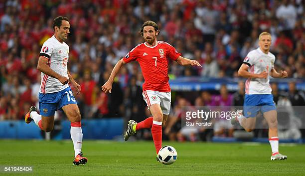 Joe Allen of Wales in action during the UEFA EURO 2016 Group B match between Russia and Wales at Stadium Municipal on June 20 2016 in Toulouse France