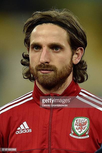 Joe Allen of Wales looks on as the national anthems are played prior to kickoff during the International Friendly match between Ukraine and Wales at...