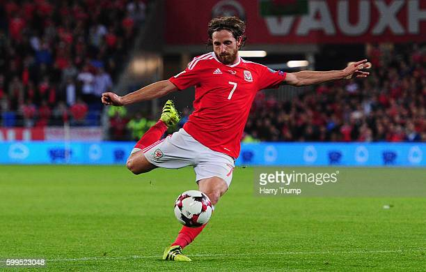 Joe Allen of Wales scores his sides second goal during the 2018 FIFA World Cup Qualifier between Wales and Moldova at the Cardiff City Stadium on...