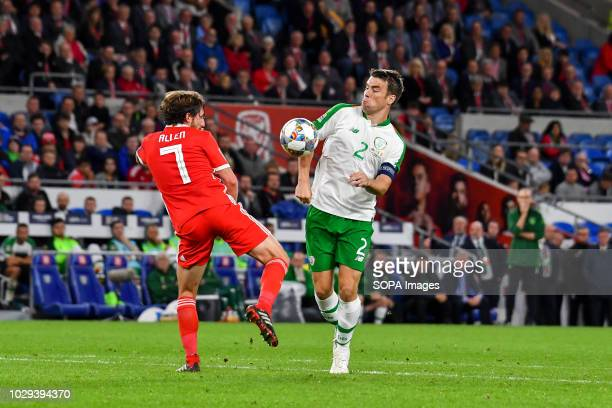 Joe Allen Seamus Coleman seen in action during the game UEFA Nations League match between Wales and Republic of Ireland at Cardiff City Stadium Wales...