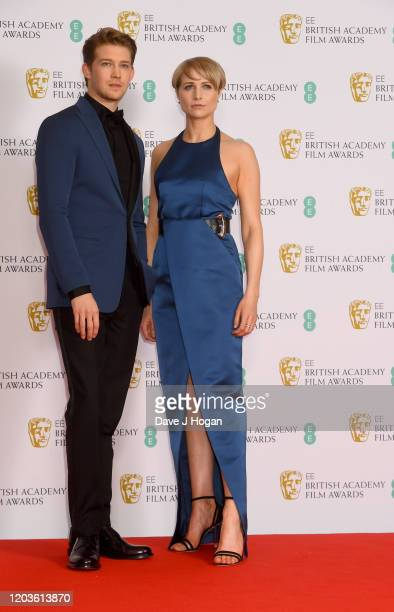 Joe Alwyn and Niamh Algar pose in the Winners Room during the EE British Academy Film Awards 2020 at Royal Albert Hall on February 02 2020 in London...