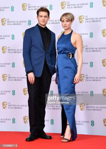 Joe Alwyn and Niamh Algar poses in the Winners Room during the EE British Academy Film Awards 2020 at Royal Albert Hall on February 02 2020 in London...