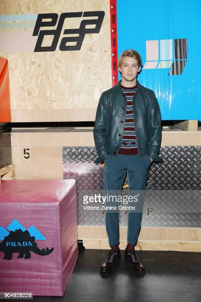 Joe Alwyn attends Prada F/W 18 Men's Fashion Show on January 14 2018 in Milan Italy