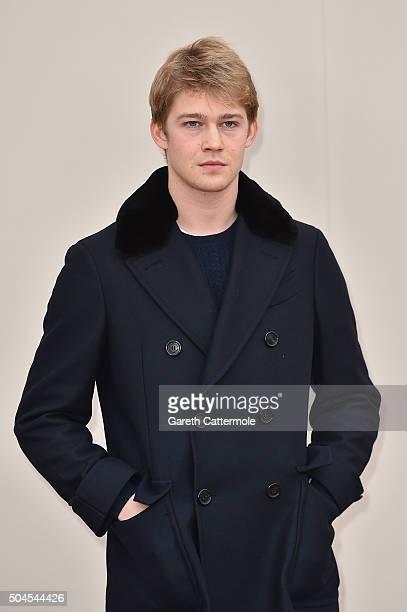 Joe Alwyn wearing Burberry attends the Burberry Menswear January 2016 Show on January 11 2016 in London United Kingdom