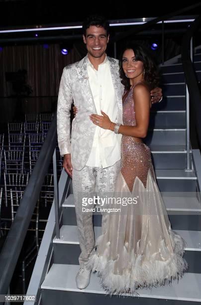 Joe Amabile and Jenna Johnson pose at Dancing with the Stars Season 27 at CBS Televison City on September 24 2018 in Los Angeles California