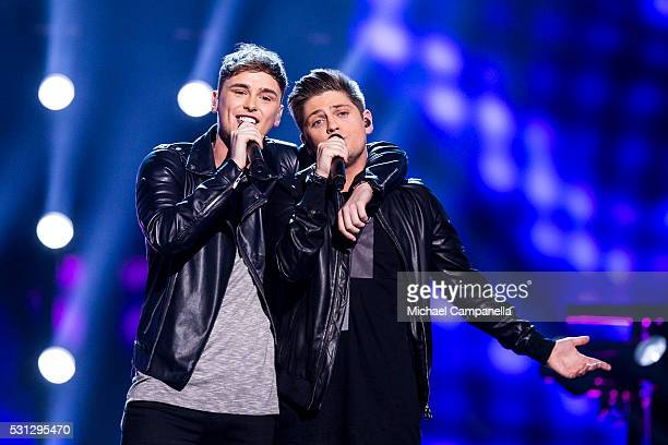 """Joe and Jake representing United Kingdom perform the song """"You're Not Alone"""" during the final dress rehearsal of the 2016 Eurovision Song Contest at..."""